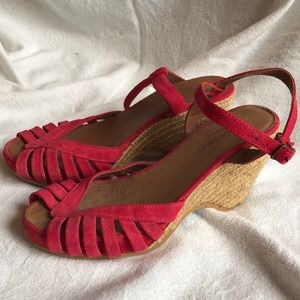 Eric Michael Pink Suede wedge sandals